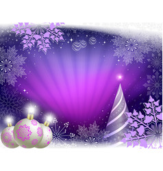 christmas greeting card in purple colors with rays vector image