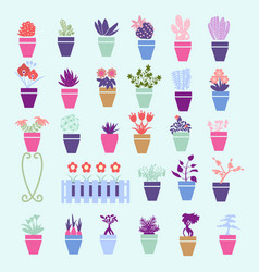 collection colorful silhouette garden house vector image