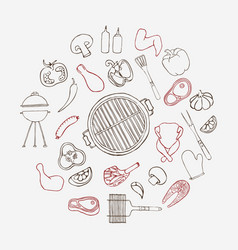 collection of hand drawn barbeque elements vector image