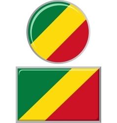 Congo Republic round and square icon flag vector