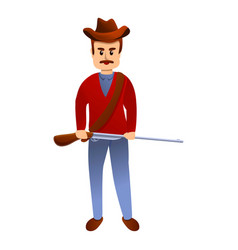 Cowboy with riffle icon cartoon style vector