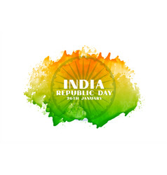 Creative indian republic day watercolor flag vector
