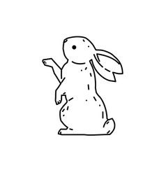 cute bunny rabbit line art drawing vector image