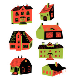 Cute with doodle houses architecture vector