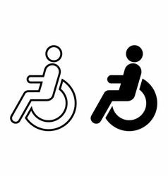 disabled wheelchair icons set vector image