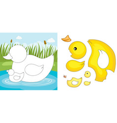 duck puzzle vector image