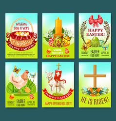 Easter spring holiday greeting card or poster set vector