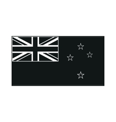 Flag of the country new zeland monochrome on white vector