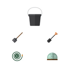 Flat icon farm set of pail hosepipe spade and vector