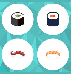 flat icon sashimi set of salmon rolls seafood vector image