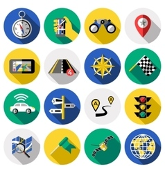 Flat Navigation Icon Set vector image