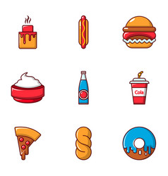 food and drinks icons set flat style vector image