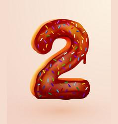 Glazed donut font number 2 number two cake vector