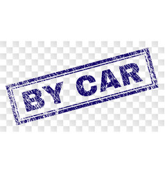 Grunge by car rectangle stamp vector