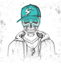 hand drawing hipster skull with cap vector image