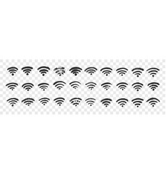 hand drawn wifi sign doodle set vector image