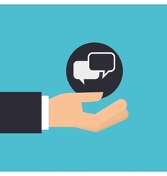 hand holding icon bubble speech design isolated vector image