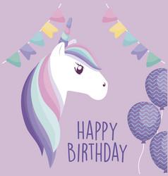 happy birthday card with cute unicorn vector image