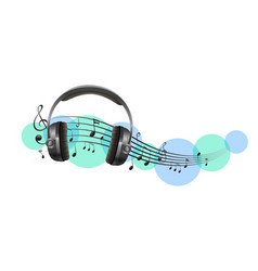 Headphone with music notes in background vector