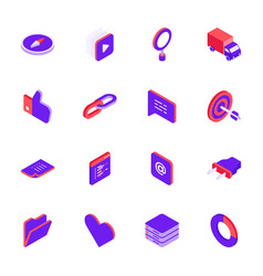 isometric social media icons set vector image