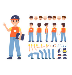 Kid constructor boy character various faces vector