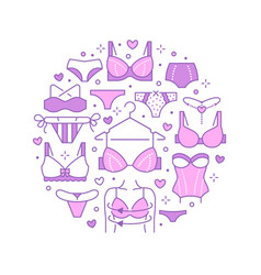 lingerie circle poster with flat line icons of bra vector image
