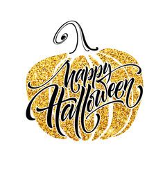 luxury poster on halloween with pumpkin vector image