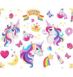 magic unicorn icon seamless pattern with vector image