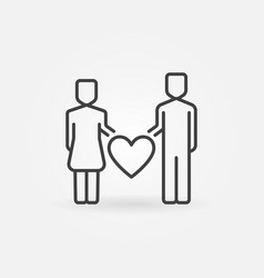 man and woman with heart outline icon or vector image
