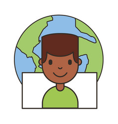 man cartoon social media icons vector image