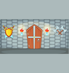 medieval horizontal banner casemate cartoon style vector image