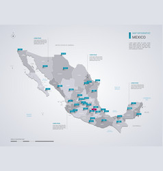 Mexico map with infographic elements pointer marks vector