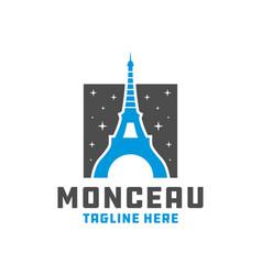 modern eiffel tower logo vector image