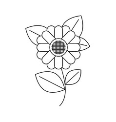 monochrome silhouette of abstract sunflower with vector image
