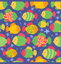 multi colored fishes print underwater vector image