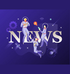 news word and astronauts in spacesuits vector image