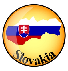 Orange button with the image maps of Slovakia vector