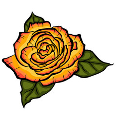 Orange rose with green leaves black lined rose vector