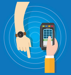pay using smart watch payment method electronic vector image