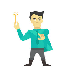 person wizard magician witch man with magic wand vector image