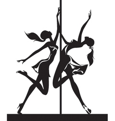 Pole dancers performance vector