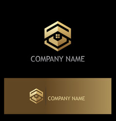 polygon house roof realty gold logo vector image