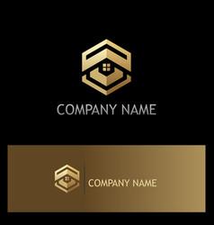 Polygon house rorealty gold logo vector