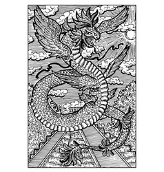 Quetzalcoatl feathered serpent engraved fantasy vector