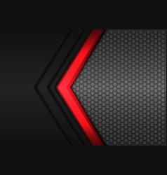 Red power arrow direction hexagon mesh vector