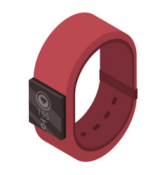 red smart band icon isometric style vector image