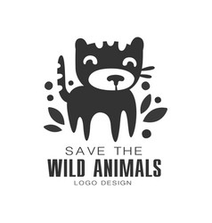 save the wild animals logo design protection the vector image