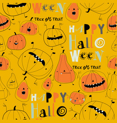 Seamless pattern with cartoon pumpkins on yellow vector