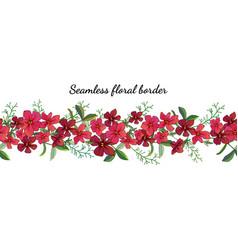 Seamless spring flower border isolated on white vector