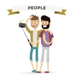 Selfie shots mans gays couple vector
